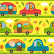seamless pattern with animals traveling in house on wheels - vector illustration, eps