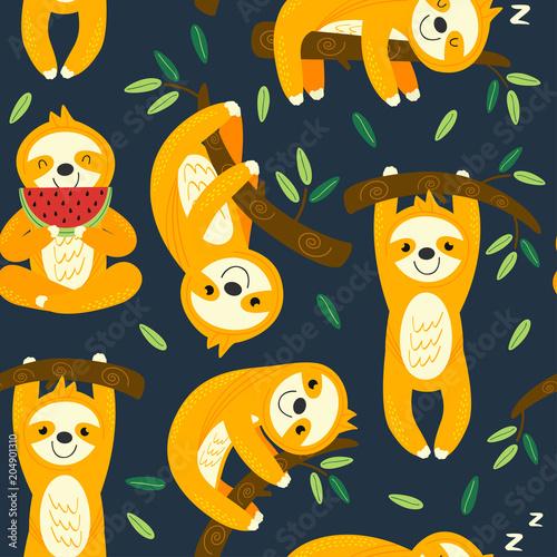 Materiał do szycia wzór z śmieszne leniwce - ilustracja wektorowa eps