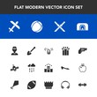 Modern, simple vector icon set with samurai, gift, plane, shovel, weapon, aircraft, present, firearm, airplane, call, space, holiday, construction, home, celebration, communication, planet, fire icons