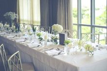 Wedding Reception Table Set With Flower