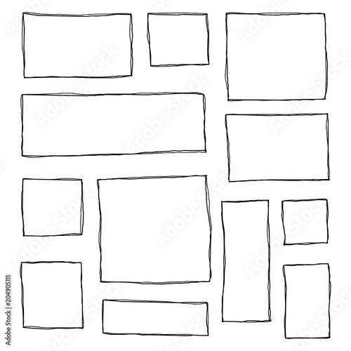Fototapeta Set of hand drawn sketched frames. obraz