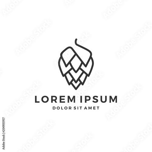 Cuadros en Lienzo hop brew brewery logo line outline