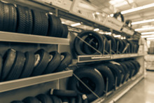 Abstract Blurred Tire Store In...