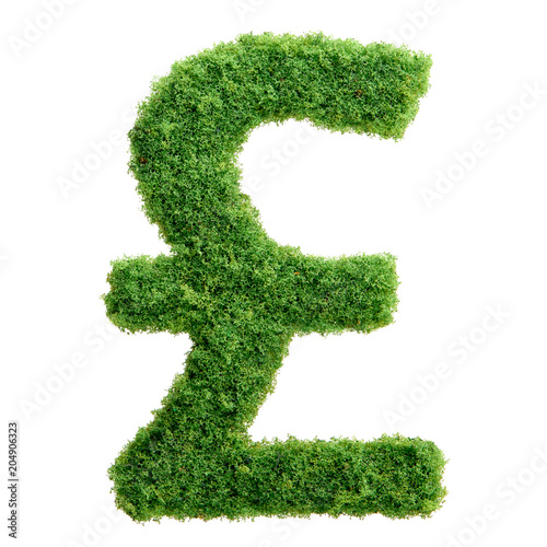 Green Grass Eco British Pound Currency Symbol Isolated Buy This