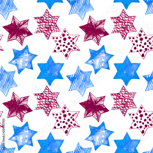 Cotton fabric Seamless Watercolor Stars Pattern. Magic Festive Background. Hand Drawn Doodle Stars. Baby Design. Abstract Rapport for Wallpaper, Textile, Linen, Wrapping, Posters, Cards, Banner. New Year, Birthday