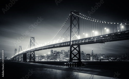 Spoed Foto op Canvas San Francisco San Francisco Bay Bridge at night