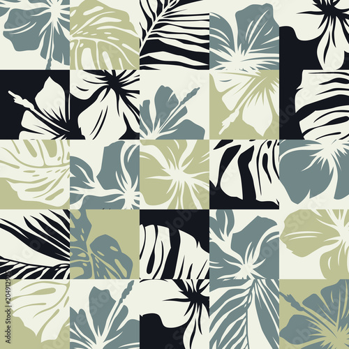 Cotton fabric Basic CMYTropical leaves and hibiscus flowers vector abstract patchwork seamless pattern
