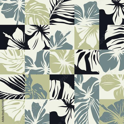 Materiał do szycia Podstawowe CMYTropical liści i kwiatów hibiskusa wektor wzór abstrakcja bezszwowe