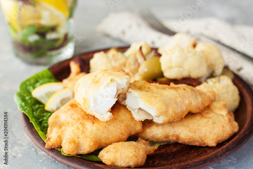 Battered fish with cauliflower