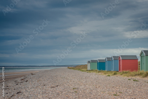 Fotomural Beach Huts At Findhorn, Scotland, UK