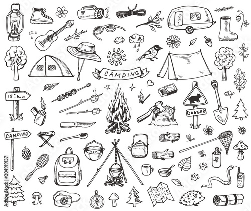 Set of forest camping icons Fotobehang