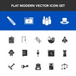 Modern, simple vector icon set with red, medicine, alcohol, book, bowling, internet, baby, school, medical, bag, cutter, bed, backpack, spaceship, craft, image, summer, web, rake, toy, sport icons