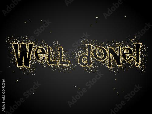 Fotografie, Obraz  WELL DONE! gold glitter card on black