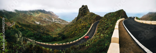 Photo sur Aluminium Iles Canaries Panoramic view of Taganana village with winding road on north of Tenerife. Canary Islands, Spain