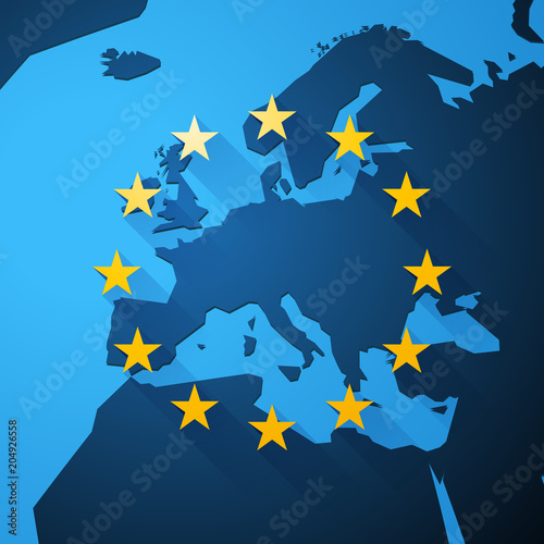 Foto  Map of Europe with European Union stars
