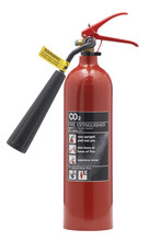 RED CARBON DIOXIDE FIRE EXTINGUISHER ISOLATED ON WHITE BACKGROUND