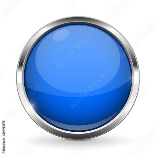 Fotografía  Blue button with chrome frame. Round glass shiny 3d icon