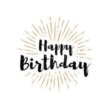 Happy Birthday Lettering With Sunbursts Background