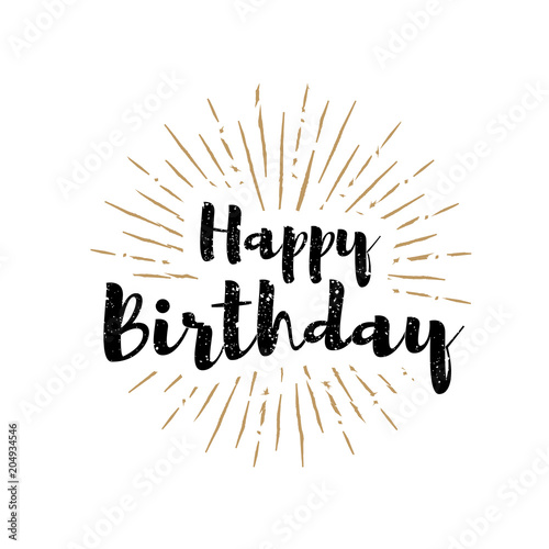 Photo  Happy birthday lettering with sunbursts background