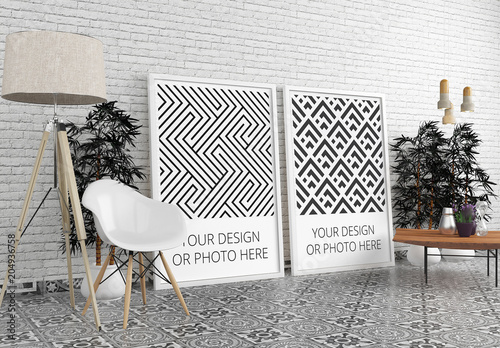 Modern interior mockup with posters by purplevisions graphicriver