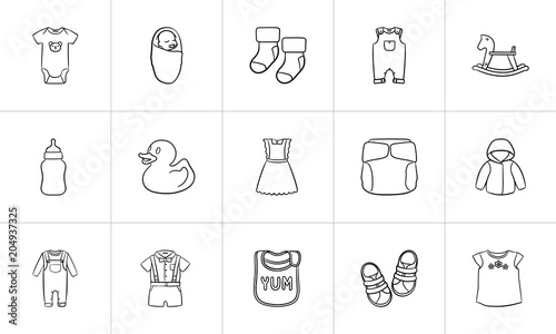 97ee793d4b99 Kids clothes and accessories hand drawn outline doodle icon set for print