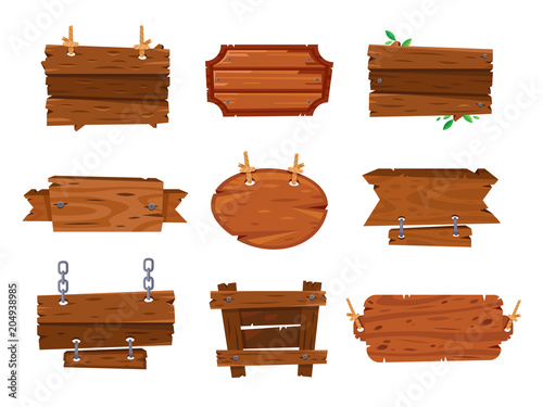 Cartoon wood boards signs and brown wooden banners. Timber plate plank, cartoons sketch board sign isolated frames vector illustration