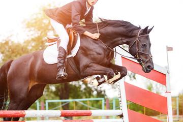 Młody jeździec mężczyzna skacze na koniu nad przeszkodą na wystawie skacze rywalizację