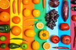 canvas print picture - Rainbow composition with fresh vegetables and fruits on color background, flat lay