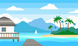 tropical landscape with island sea bungalow wooden pier