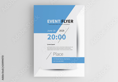event flyer layout with blue shapes buy this stock template and