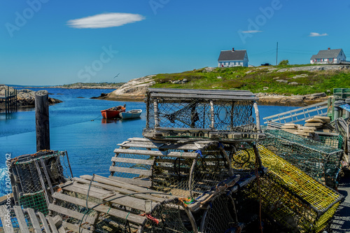 Fotobehang Centraal-Amerika Landen Lobster traps piled on a wharf in Peggy's Cove, Nova Scotia, Canada.