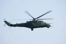 Mi24 Helicopter On The Sky