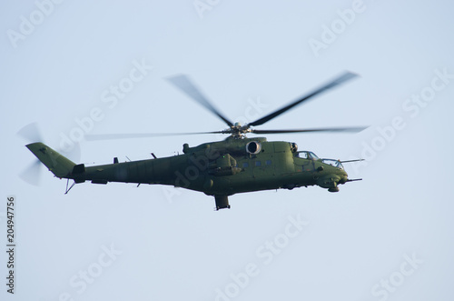 Mi24 helicopter on the sky Canvas Print
