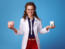 Medical Doctor Woman Showing Tooth And Piggy Bank On Blue