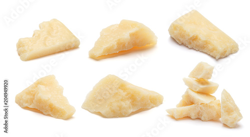 Fotografie, Obraz  Set of Parmesan cheese pieces on white