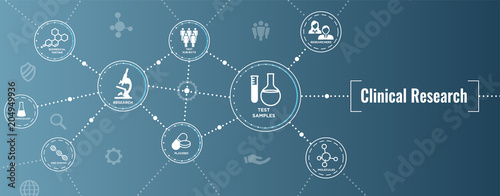 Stampa su Tela  Medical Healthcare Icons with People Charting Disease / Scientific Discovery Web