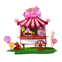 Candy Shop With A Cheerful Decor. Fairytale Vector Illustration.