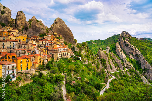 Photo Castelmezzano village in Apennines Dolomiti Lucane