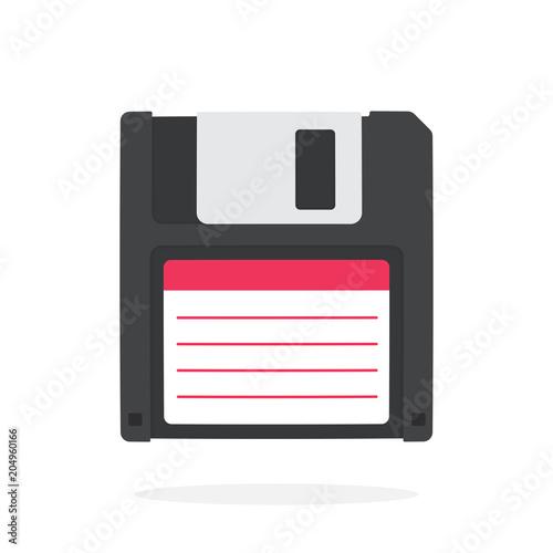 Black magnetic computer floppy disk in flat style Fototapet