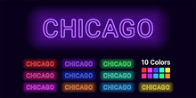 Neon Name Of Chicago City