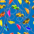 Seamless background of children`s cars