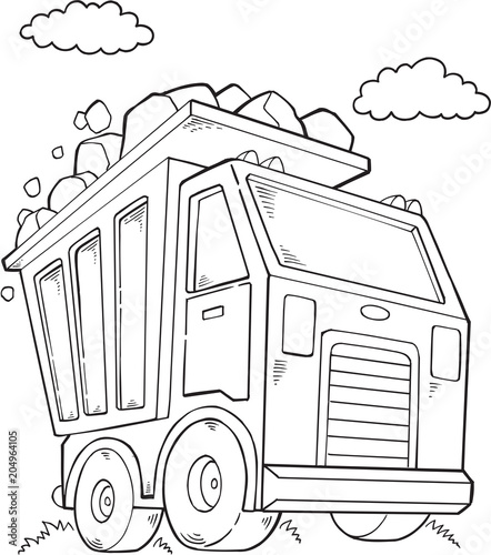 Photo sur Toile Cartoon draw Cute Dump Truck Construction Vector Illustration Art