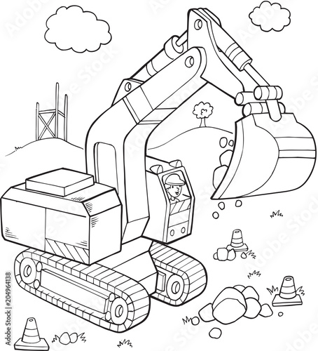 Tuinposter Cartoon draw Big Digger Construction Vehicle Vector Illustration Art