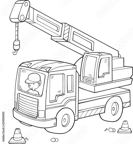 Poster Cartoon draw Big Construction Truck Vector Illustration Art