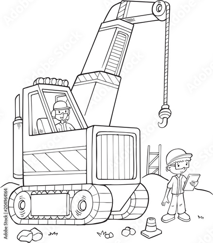 Poster Cartoon draw Big Crane Construction Vector Illustration Art
