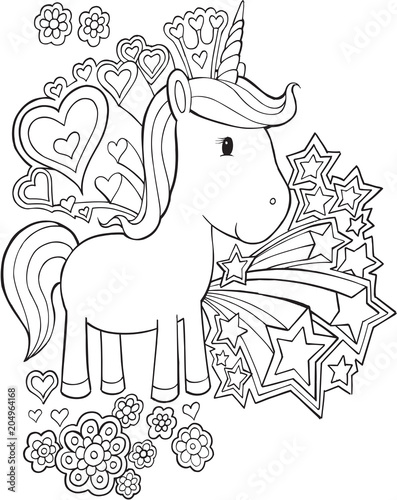 Spoed Foto op Canvas Cartoon draw Cute Unicorn Pony Vector Illustration Art