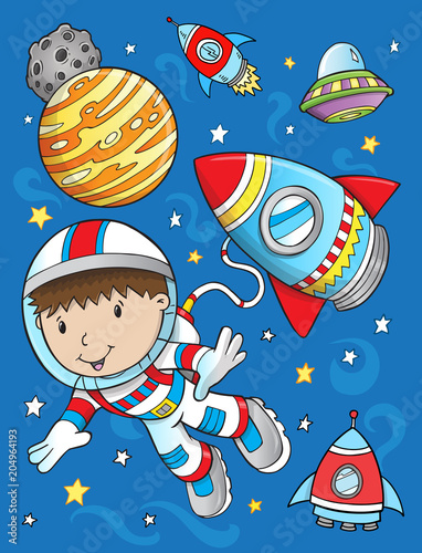 Fotobehang Cartoon draw Cute Astronaut Rocket Space Vector Illustration Art
