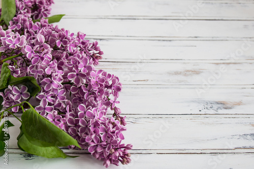 Fotobehang Lilac Flowers of lilac.White old background with space for text.Purple color.