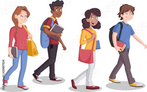 Fotografie, Obraz  Teenagers students walking. Cartoon young people.