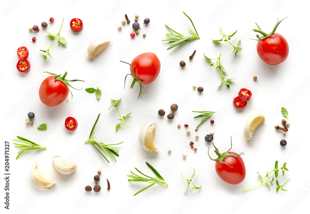 Tomatoes and various herbs and spices